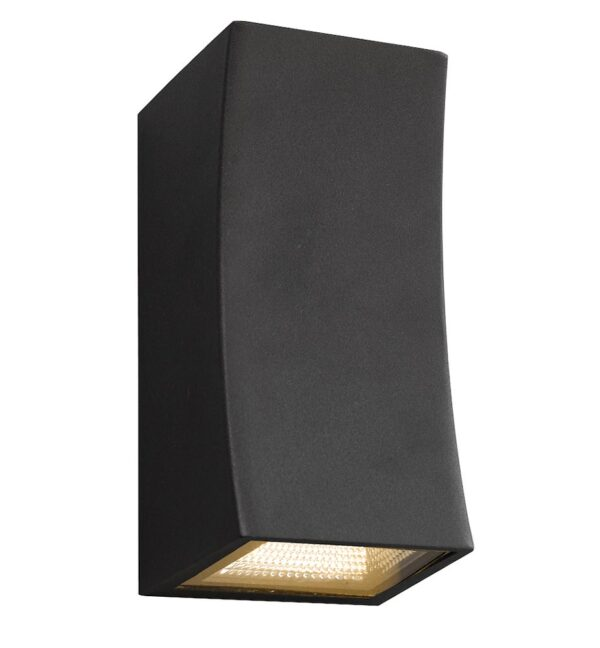 Dar Exeter Curved 2 Light LED Outdoor Wall Washer Light Gunmetal IP44