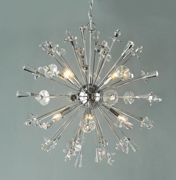 Dar Exodus Crystal 8 Light Starburst Ceiling Pendant Polished Chrome