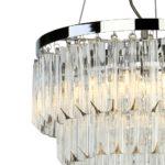 Dar Fame Stunning 5 Light Crystal Pendant Chandelier Polished Chrome