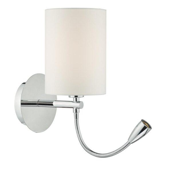 Dar Feta Bedside Wall Light Bracket Flexible LED Reading Light Chrome