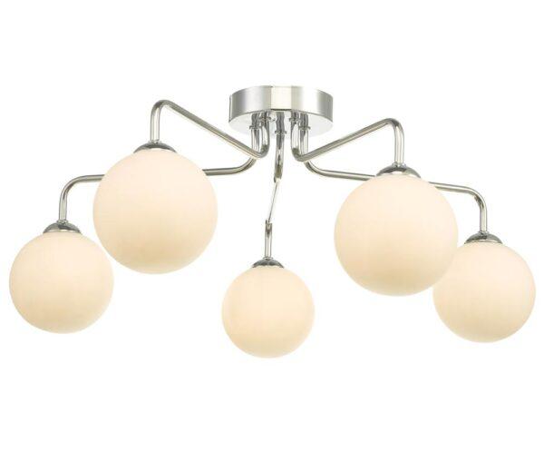 Dar Feya Chrome 5 Lamp Semi Flush Low Ceiling Light Opal White Glass