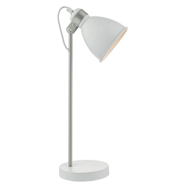 Dar Frederick 1 Light Retro Desk Task Lamp Matt White / Satin Chrome
