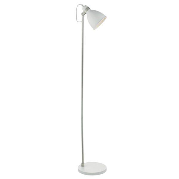 Dar Frederick 1 Light Retro Floor Reading Lamp Matt White / Chrome