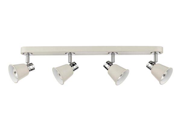 Dar Fry Retro Style 4 Lamp Ceiling Spot Light Bar Matt Cream / Chrome
