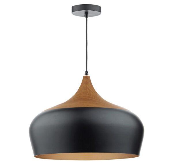 Dar Gaucho Retro Style 1 Lamp Large Pendant Ceiling Light Matt Black