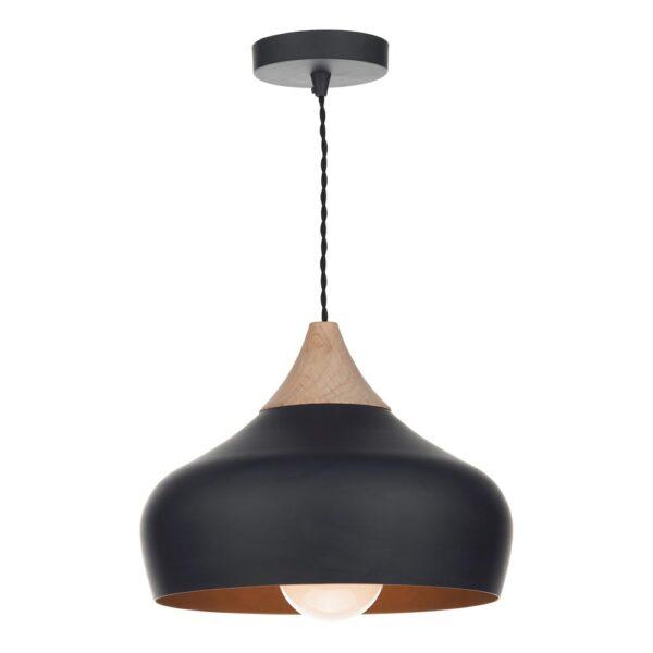 Dar Gaucho Retro Style 1 Lamp Medium Pendant Ceiling Light Matt Black