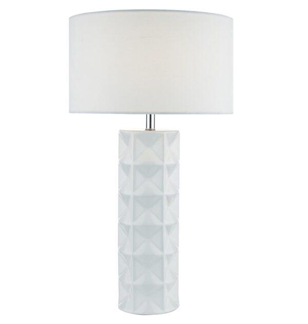 Dar Gift White Ceramic Geometric Table Lamp White Linen Shade