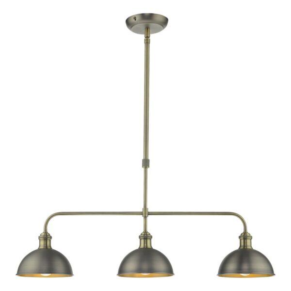 Dar Governor Small Industrial 3 Light Bar Pendant Antique Chrome / Brass