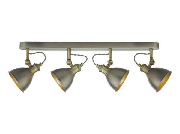 Dar Governor Industrial Ceiling Spot 4 Light Bar Antique Chrome / Brass