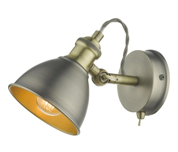 Dar Governor Switched Single Industrial Wall Spot Light Chrome / Brass