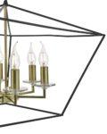 Dar Gretchen Modern 6 Light Pendant Chandelier Black & Polished Gold
