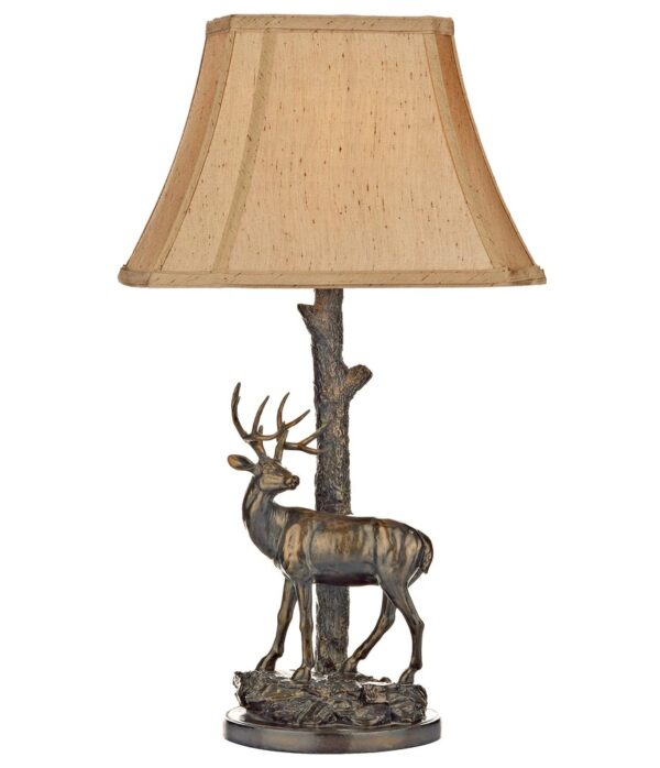Dar Gulliver Deer Sculpture Table Lamp Aged Brass Gold Shade
