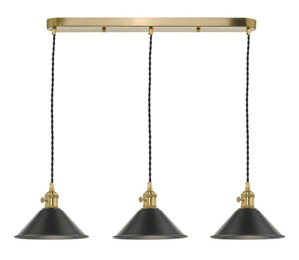 Dar Hadano 3 Light Retro Style Ceiling Pendant Antique Pewter & Brass