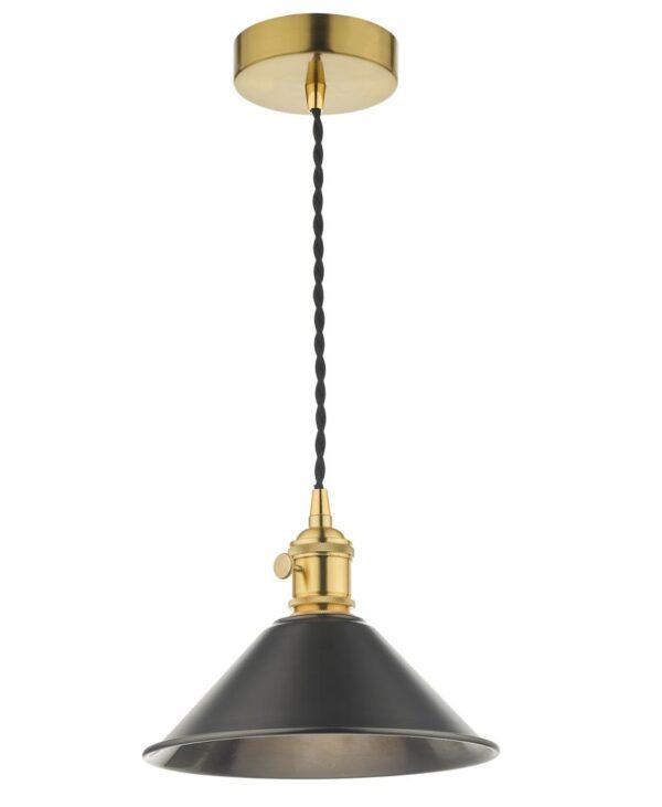 Dar Hadano Small 1 Light Retro Ceiling Pendant Antique Pewter & Brass