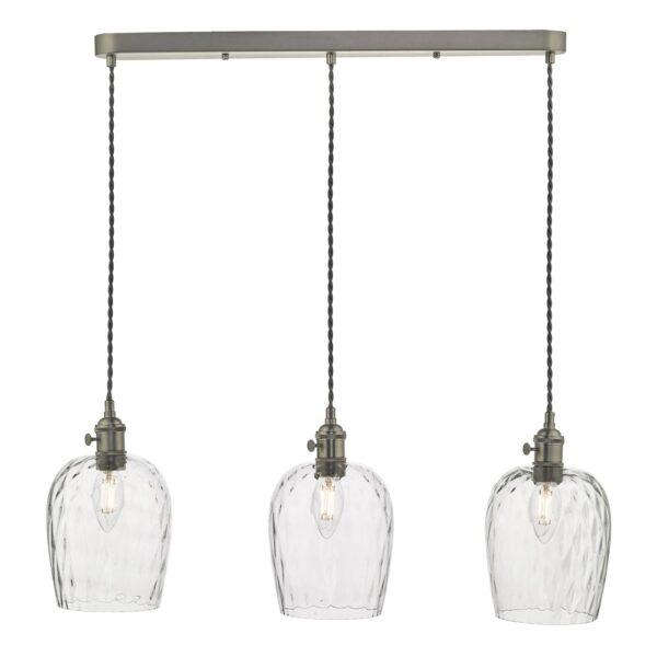 Dar Hadano 3 Light Retro Ceiling Pendant Antique Chrome Dimpled Glass
