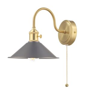 Dar Hadano Switched Retro Style Single Wall Light Antique Pewter / Brass