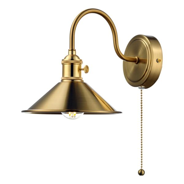 Dar Hadano Switched Single Retro Style Wall Light Natural Aged Brass