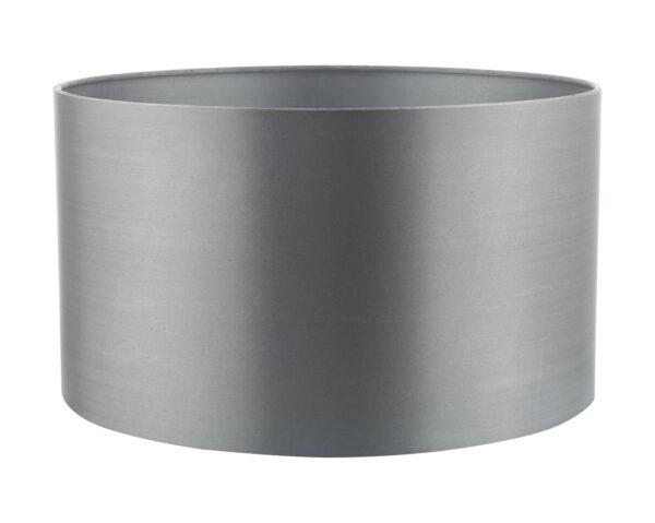 Dar Hilda 35cm Grey Faux Silk Fabric Drum Table Lamp Shade