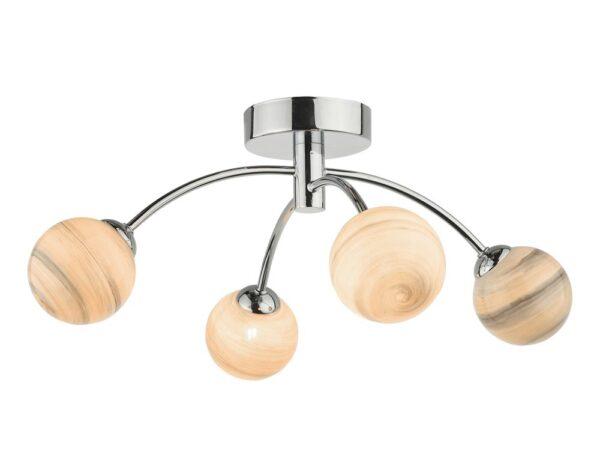 Dar Izzy Chrome 4 Lamp Semi Flush Low Ceiling Light Planet Art Glass