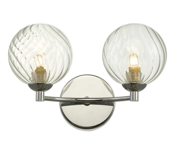 Dar Izzy Polished Chrome 2 Lamp Twin Wall Light Swirl Glass Shades