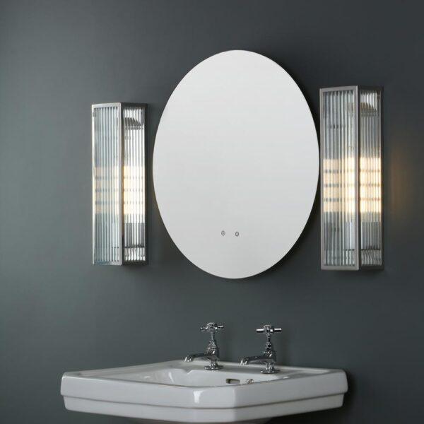Dar Keegan 1 Lamp Bathroom Wall Light Stainless Reeded Glass IP44