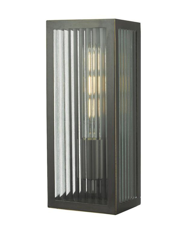 Dar Keegan Medium Brass Outdoor Wall Light Ribbed Glass Bronze IP44