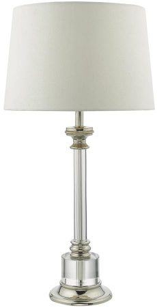 Dar Krona Candlestick Table Lamp Polished Nickel Ivory Shade