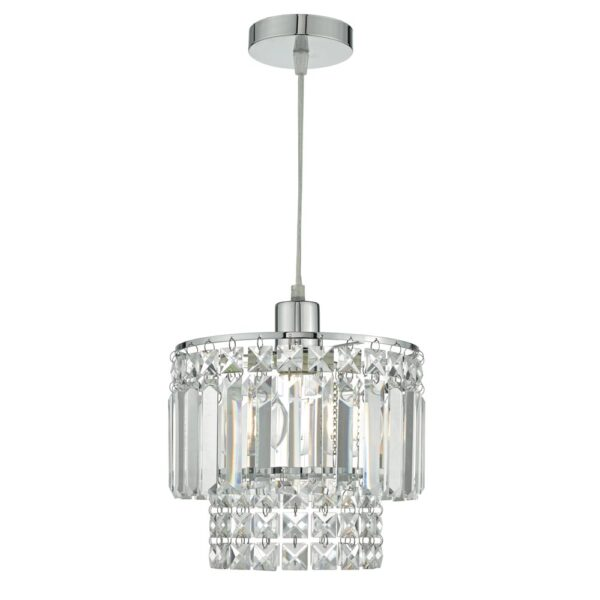 Dar Kyla Easy Fit Pendant Light Shade Faceted Glass & Polished Chrome
