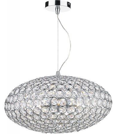 Dar Kyrie Crystal 3 Light Pendant Polished Chrome