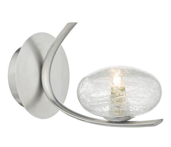 Dar Leighton Switched Single Wall Light Satin Chrome Sugar Glass