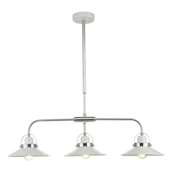 Dar Liden Retro Style 3 Lamp Pendant Ceiling Light Bar White & Chrome