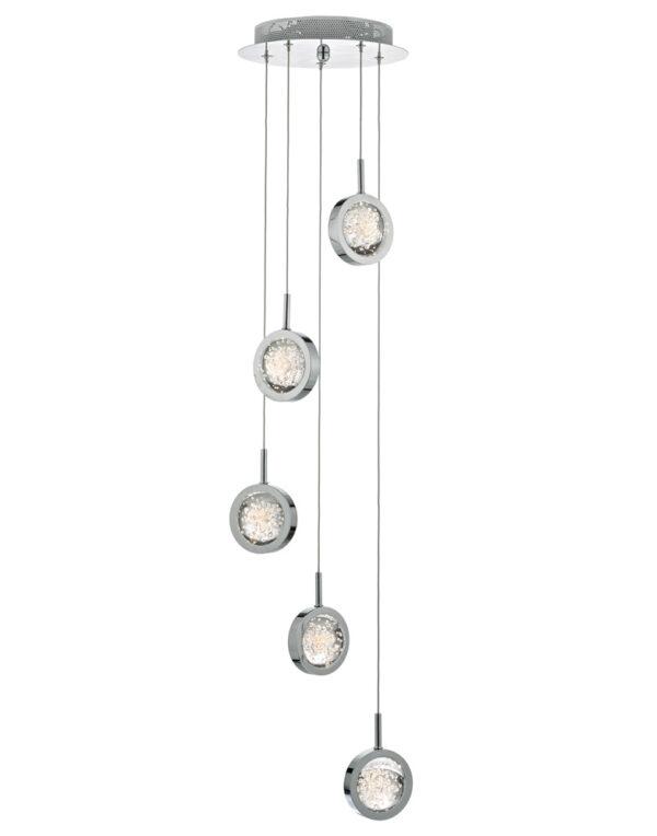 Dar Livia 5 Light LED Cluster Pendant Polished Chrome Bubble Glass
