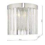 Dar Lorant 2 Lamp Half Round Wall Light Polished Chrome Glass Rods
