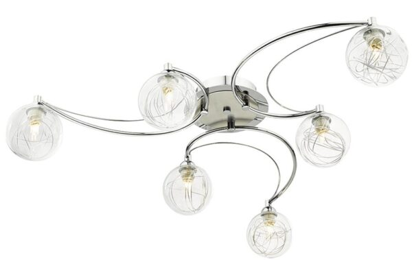 Dar Lozanne 6 Light Semi Flush Polished And Satin Chrome