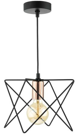 Dar Midi Matt Black 1 Light Pendant With Copper Detail