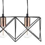 Dar Midi Matt Black 3 Light Ceiling Pendant Bar Polished Copper Detail