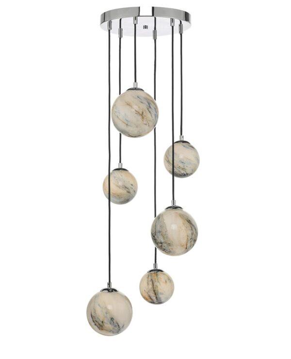 Dar Mikara 6 Light Multi Level Ceiling Pendant Chrome Art Glass Globes