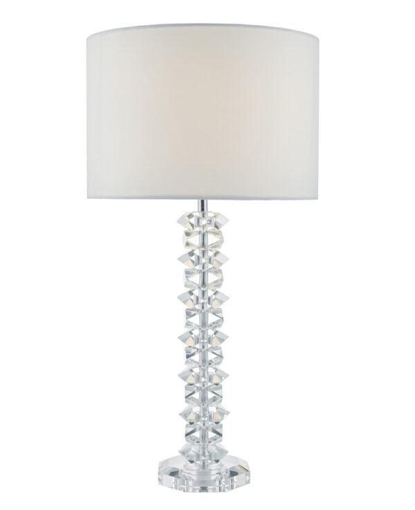 Dar Mina 1 Light Crystal Column Table Lamp Chrome Cream Shade