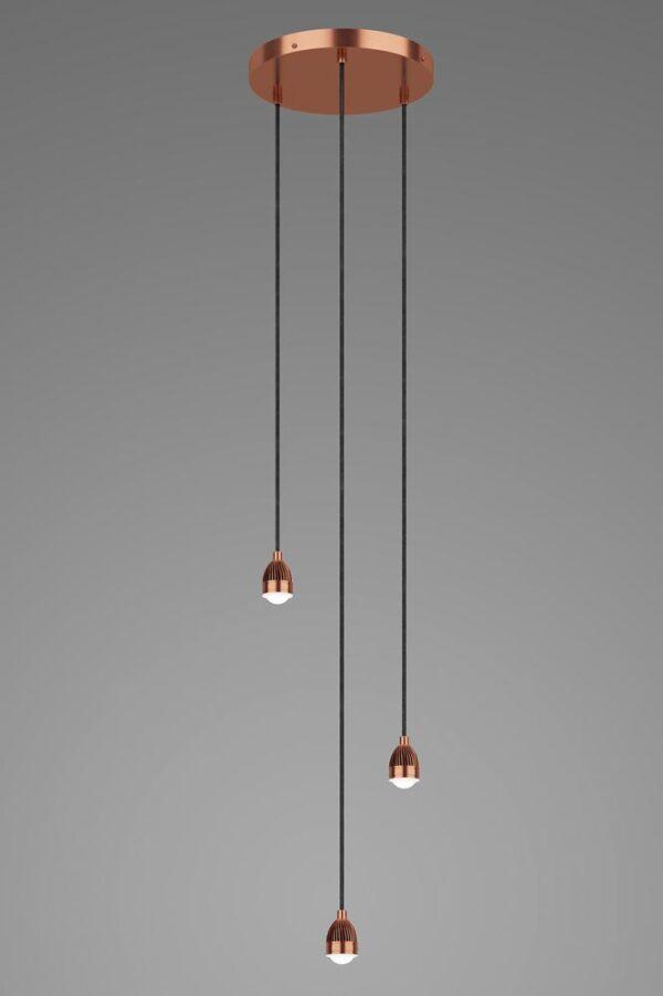 Dar Modular 3 Light LED Cluster Ceiling Pendant Cable Set Satin Copper