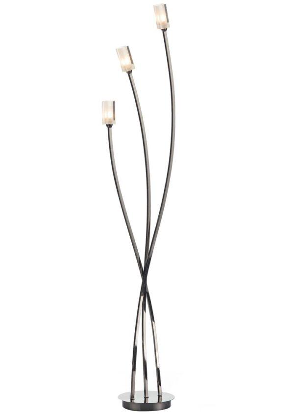 Dar Morgan Modern Black Chrome 3 Light Floor Lamp Frosted Glass