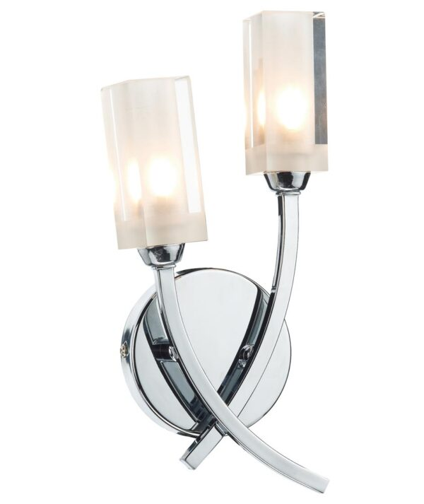 Dar Morgan Modern Polished Chrome 2 Lamp Wall Light Frosted Glass