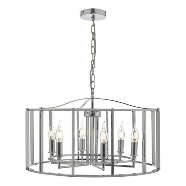 Dar Myka Modern 6 Light Caged Pendant Chandelier Polished Chrome