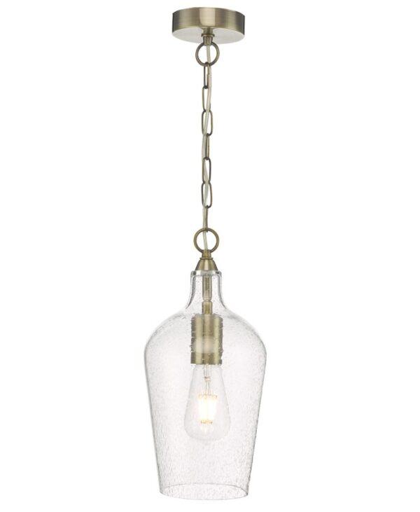 Dar Nida Classic 1 Light Antique Brass Ceiling Pendant Seeded Glass