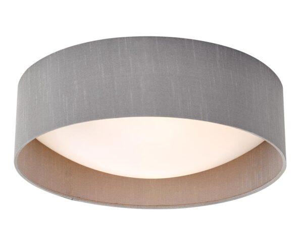 Dar Nysa 2 Lamp Flush Low Ceiling Light Grey Faux Silk Opal Shade