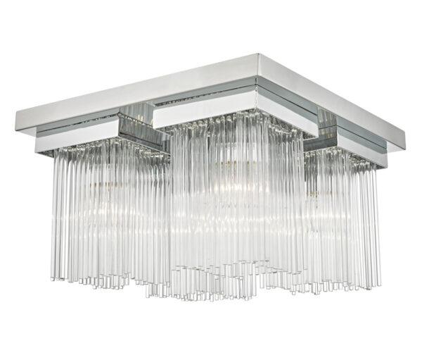 Dar Odette 4 Lamp Flush Mount Low Ceiling Light Chrome Glass Rods