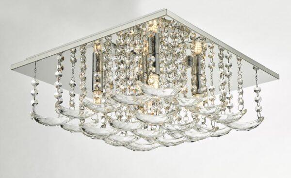 Dar Orella Crystal 5 Lamp Flush Mount Low Ceiling Light Polished Chrome