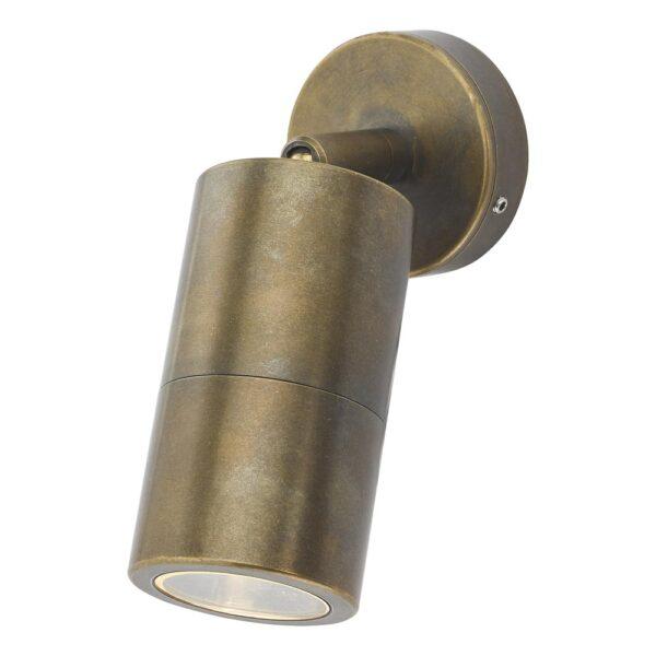 Dar Ortega 1 Light Adjustable Outdoor Wall Spot Light Solid Brass IP65