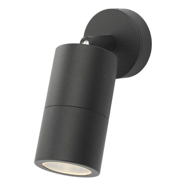 Dar Ortega 1 Light Adjustable Outdoor Wall Spot Light Matte Black IP65