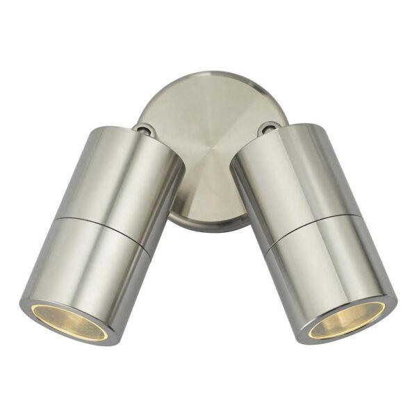 Dar Ortega Twin Adjustable Outdoor Wall Spot Light Aluminium IP65