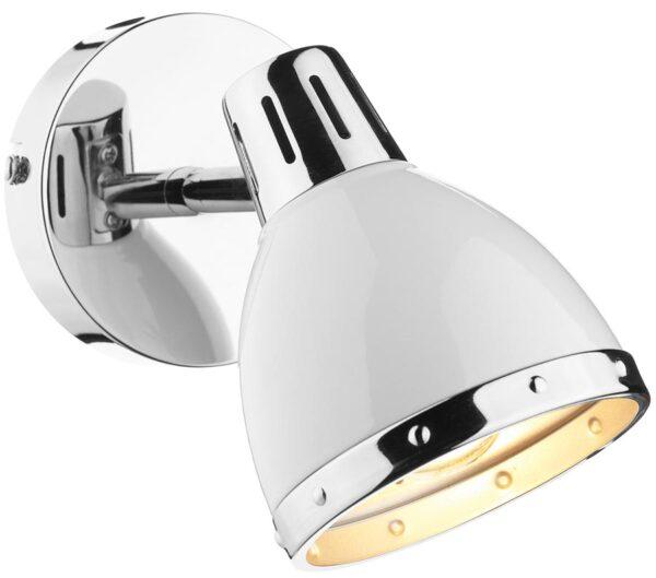 Dar Osaka Gloss White Switched Wall Spot Light Chrome